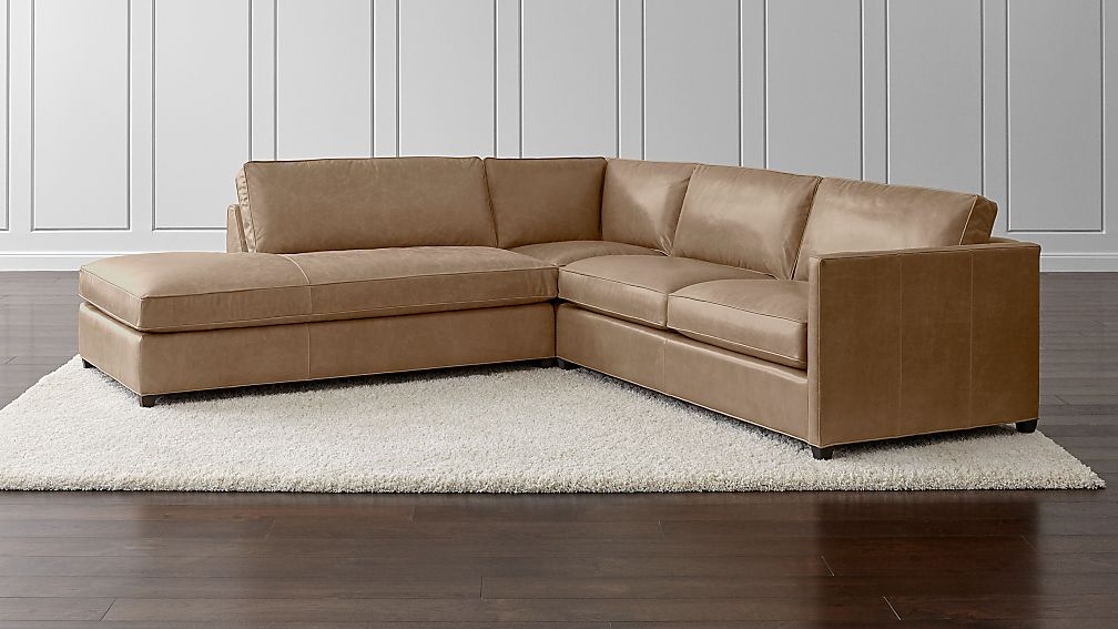 Dryden Leather 3-Piece Left Bumper Sectional