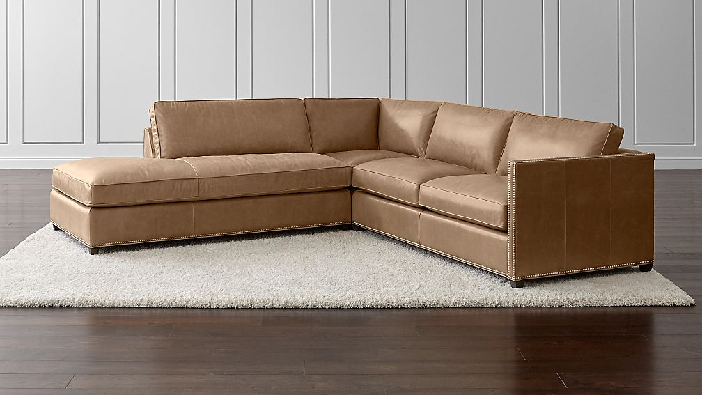 Dryden Leather 3-Piece Left Bumper Sectional with Nailheads