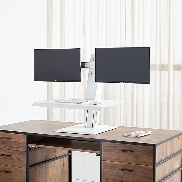 Humanscale White Dual Monitor Quickstand Eco Standing Desk