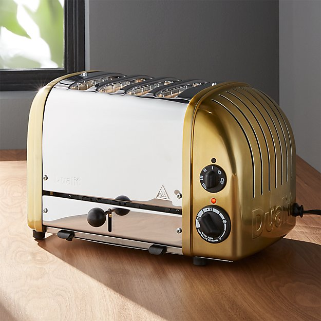 Dualit 174 Newgen 4 Slice Brass Toaster Crate And Barrel