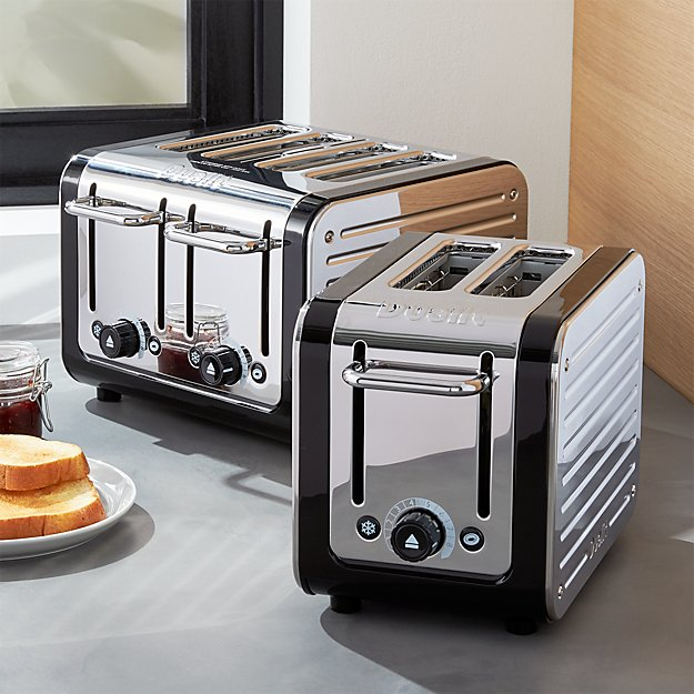 dualit design black stainless steel toasters crate and barrel. Black Bedroom Furniture Sets. Home Design Ideas