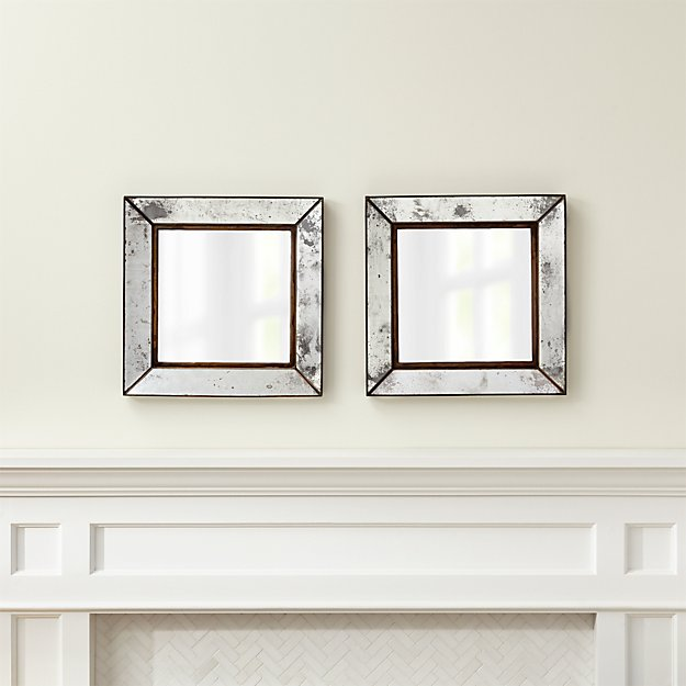 Bathroom Mirrors Crate And Barrel dubois small square wall mirrors, set of 2 | crate and barrel
