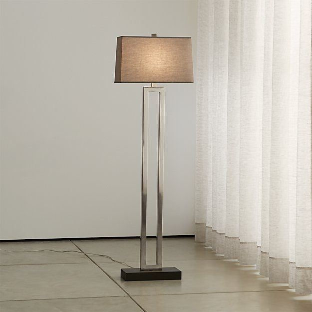 Duncan Antique Silver Floor Lamp With Grey Shade Crate
