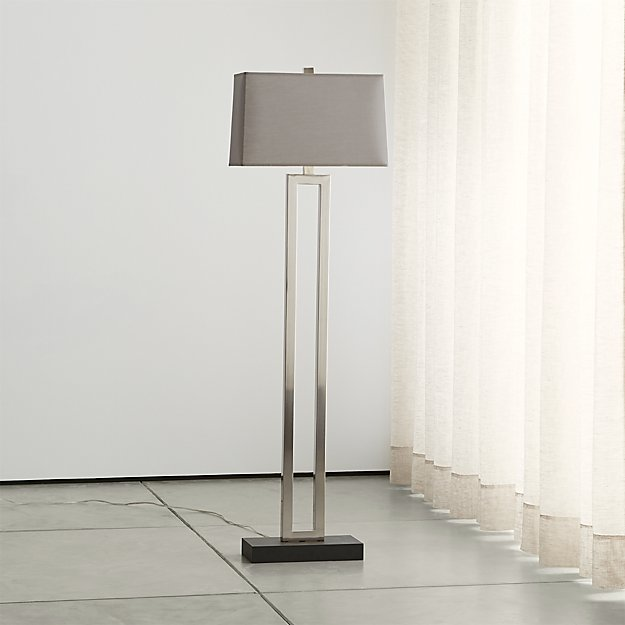 duncan antique silver floor lamp with grey shade | crate and barrel