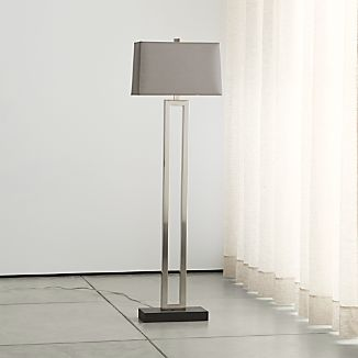 Duncan Antique Silver Floor Lamp with Grey Shade