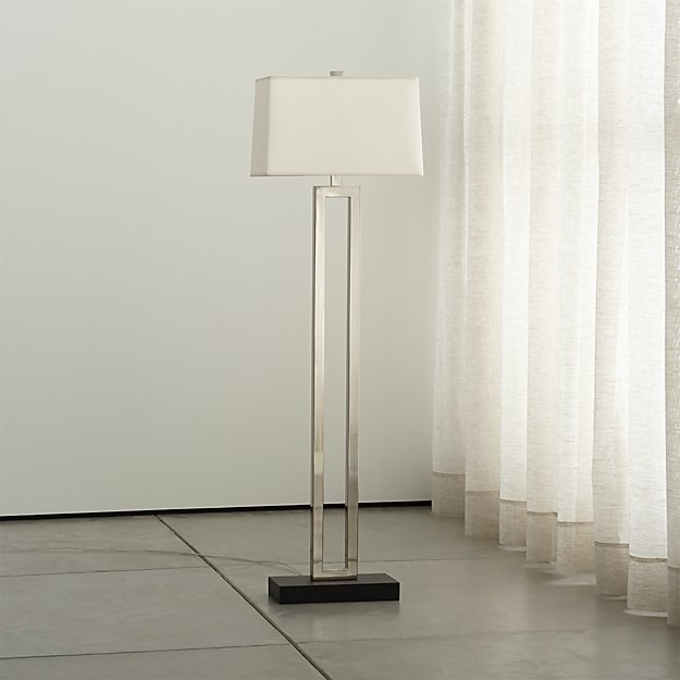 Duncan antiqued silver floor lamp crate and barrel for Silver mirror floor lamp