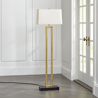 Duncan Brass Floor Lamp with Ivory Shade
