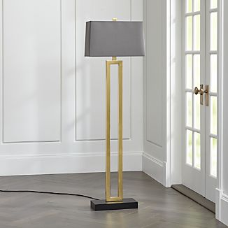 Duncan Brass Floor Lamp with Grey Shade