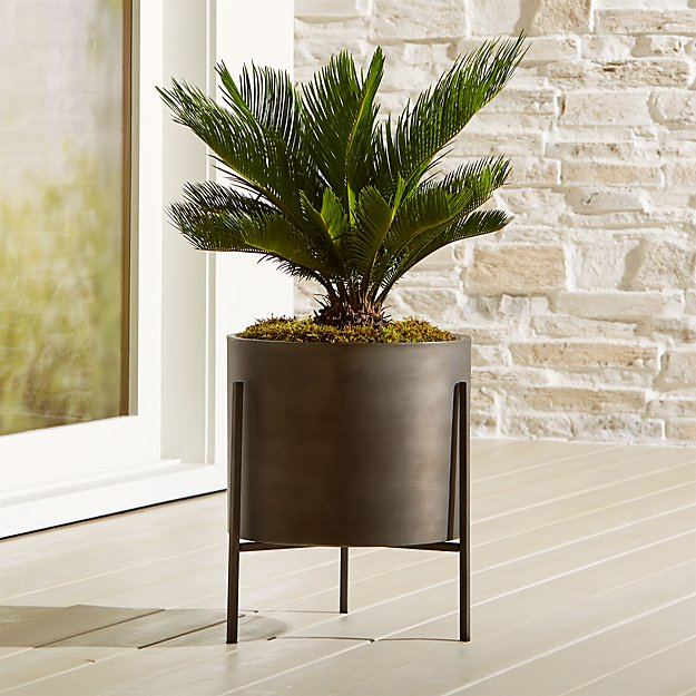 Dundee Bronze Low Planter with Stand - Image 1 of 13