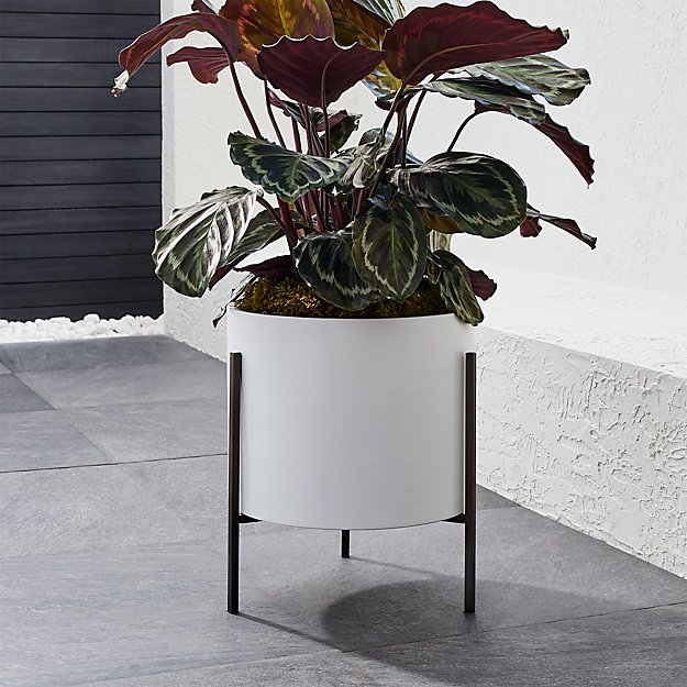 Dundee Low White Planter with Stand - Image 1 of 9