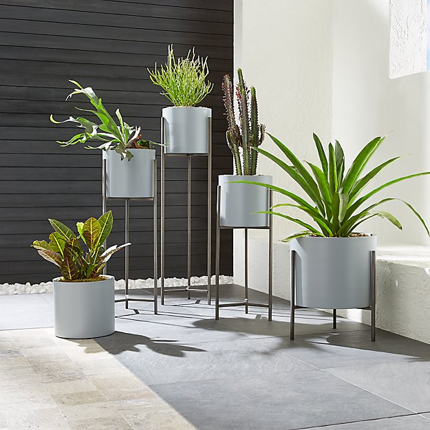 Dundee Light Grey Planters with Stands - Image 1 of 6