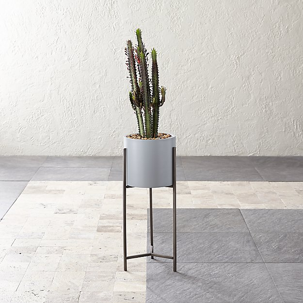 Dundee Light Grey Planter with Short Stand - Image 1 of 6