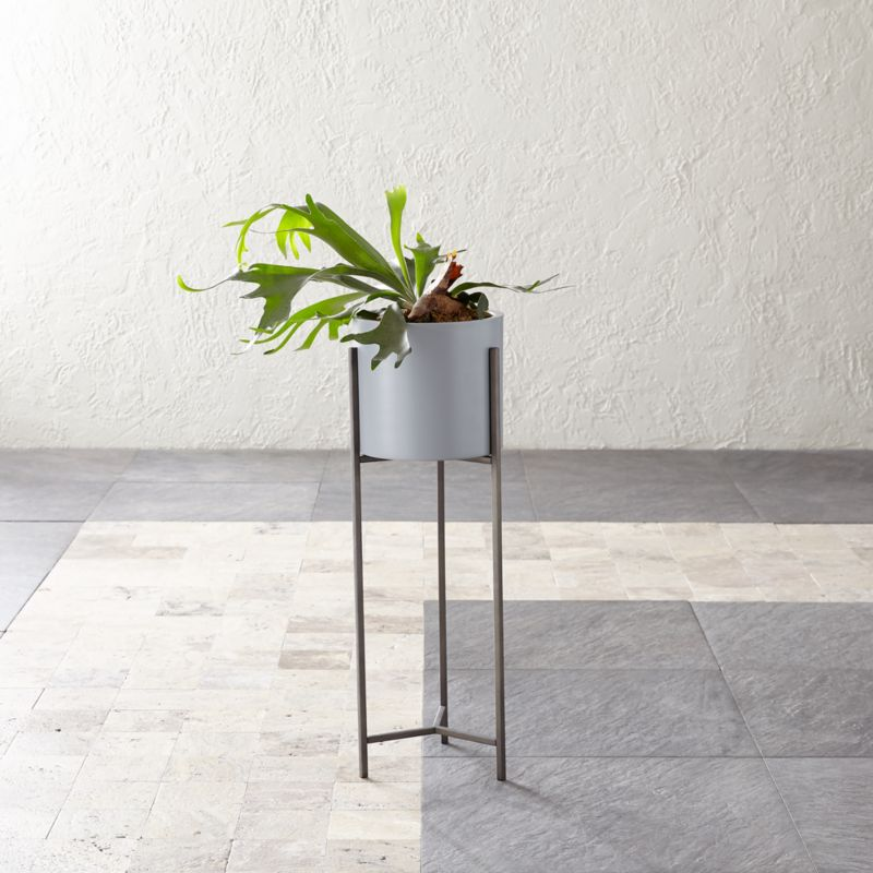 Dundee Light Grey Planter With Tall Stand + Reviews