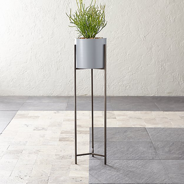 Dundee Light Grey Planter with Extra-Tall Stand - Image 1 of 6