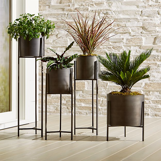 Dundee Bronze Floor Planters Crate And Barrel