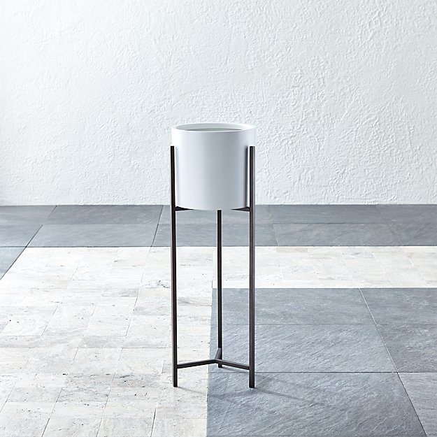 Dundee White Round Planter with Tall Stand - Image 1 of 8