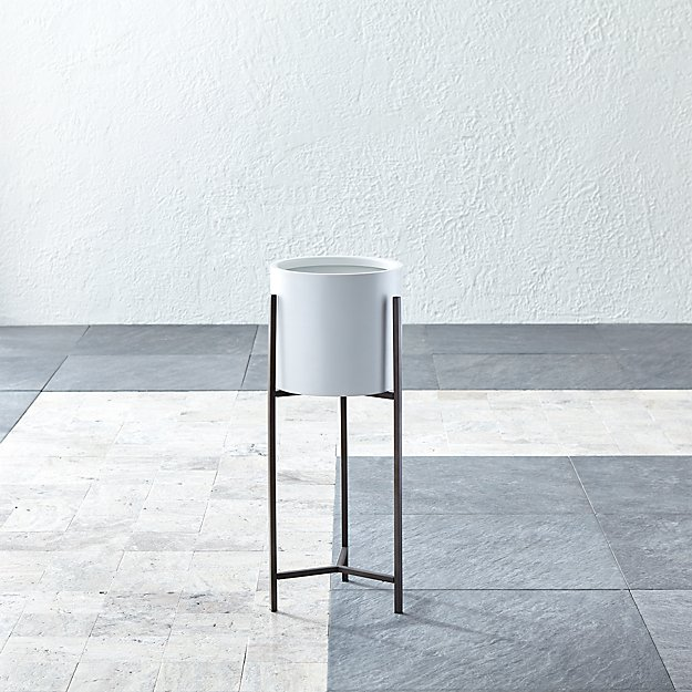 Dundee White Round Planter with Short Stand - Image 1 of 9