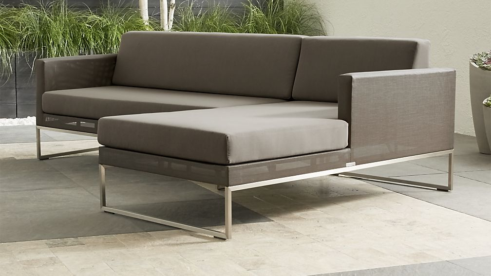 Dune Taupe 2-Piece Right Arm Chaise Sectional with Sunbrella ® Cushions - Image 1 of 2