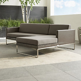Dune Taupe 2-Piece Right Arm Chaise Sectional with Sunbrella ® Cushions
