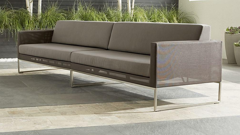 Dune 2-Piece Grey Outdoor Sofa + Reviews | Crate and Barrel