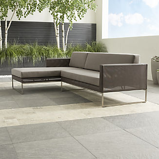 Dune Taupe 2-Piece Left Arm Chaise Sectional with Sunbrella ® Cushions