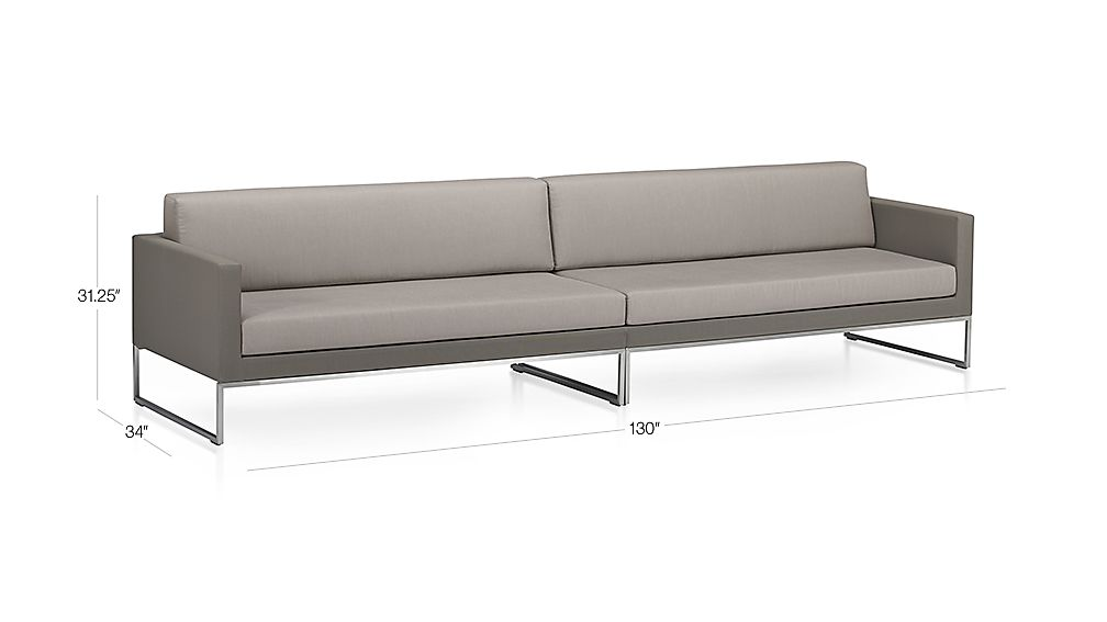 TAP TO ZOOM Image With Dimension For Dune 2 Piece Sectional Sofa With  Sunbrella ® Cushions