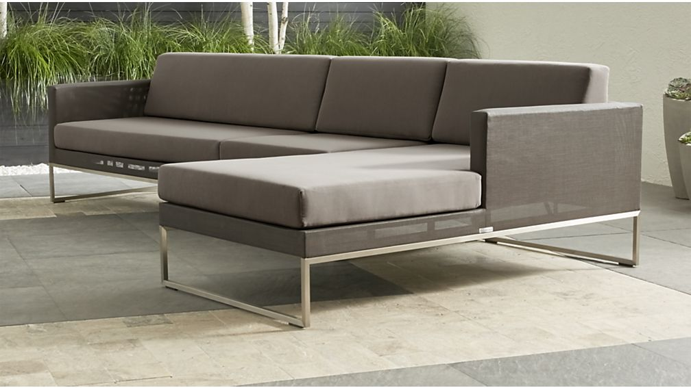 Dune Taupe 3-Piece Right Arm Chaise Sectional Sofa with Sunbrella ® Cushions - Image 1 of 3