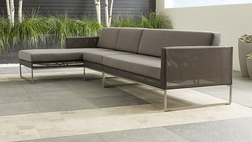 Dune Taupe 3-Piece Left Arm Chaise Sectional Sofa with Sunbrella ® Cushions - Image 1 of 3