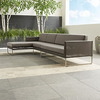 Dune Taupe 3-Piece Left Arm Chaise Sectional Sofa with Sunbrella ® Cushions