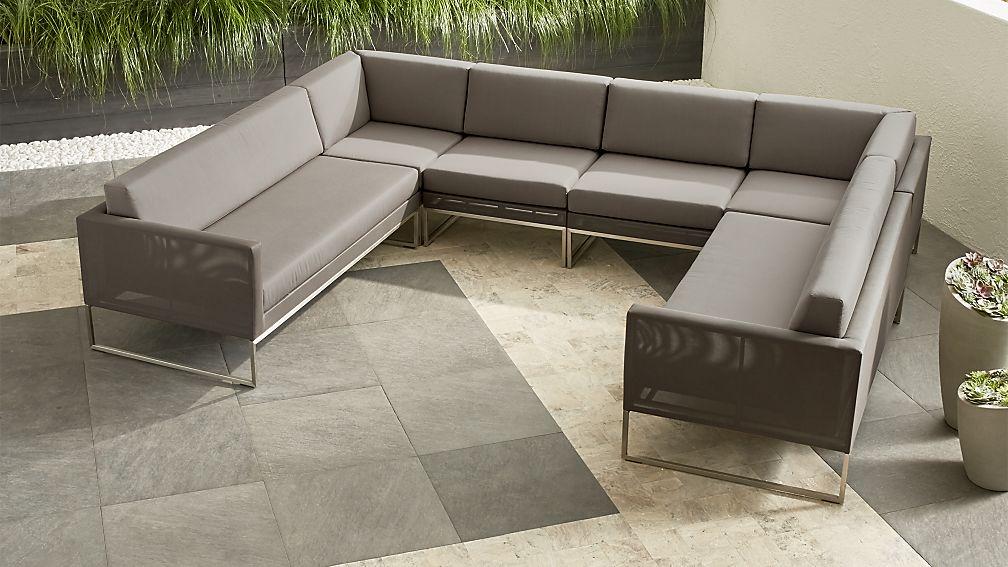 Dune 6 Piece Sectional Sofa With Sunbrella Cushions