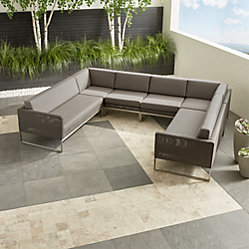 Dune Grey U-Shaped Outdoor Sectional + Reviews   Crate and Barrel