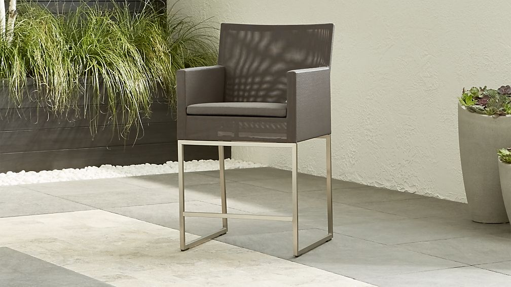 Dune Taupe Counter Stool with Sunbrella ® Cushion - Image 1 of 10