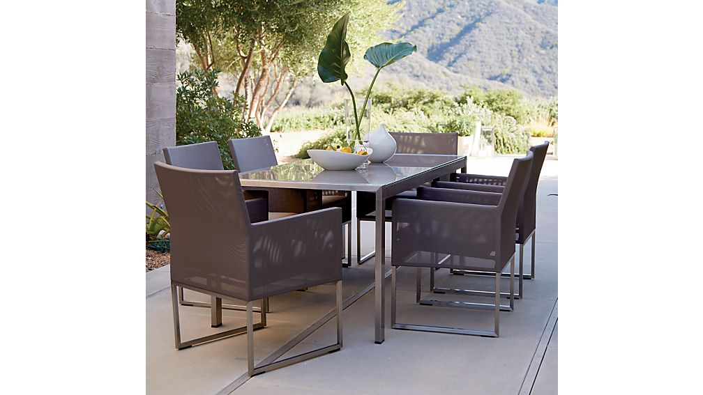 Mesh Outdoor Dining Chair Taupe Cushion In Furniture