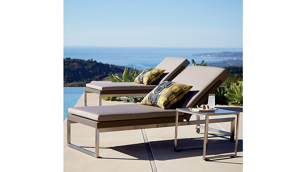 Dune chaise lounge with sunbrella cushion crate and barrel - Table pliante chaises integrees ...