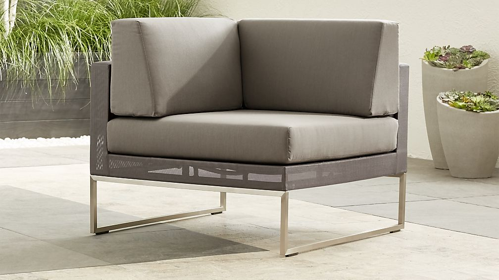 Dune Taupe Corner Chair with Sunbrella ® Cushions - Image 1 of 6