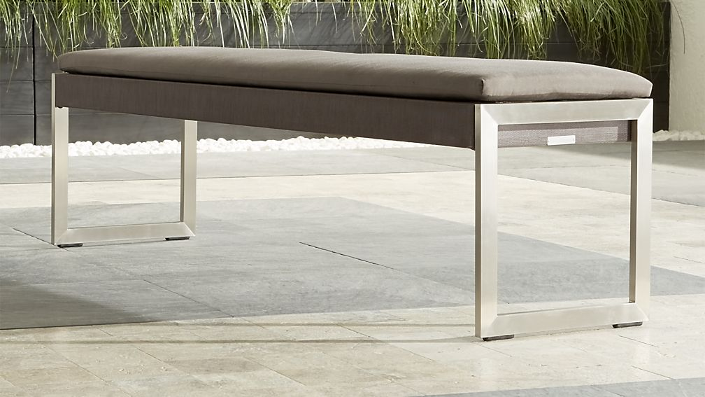 Dune Taupe Dining Bench with Sunbrella ® Cushion - Image 1 of 8