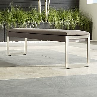 Charmant Dune Taupe Dining Bench With Sunbrella ® Cushion