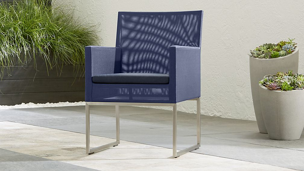 Dune Navy Dining Chair with Sunbrella ® Cushion - Image 1 of 9