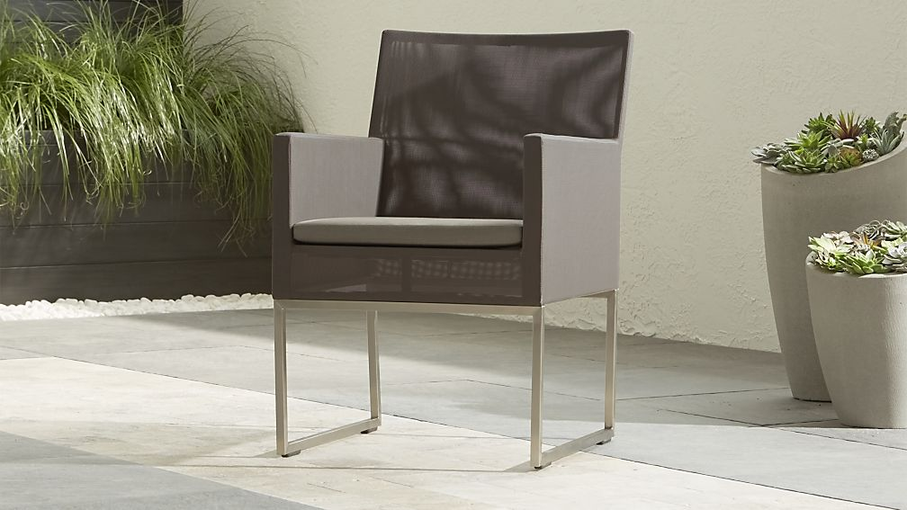 Dune Taupe Dining Chair with Sunbrella ® Cushion - Image 1 of 13