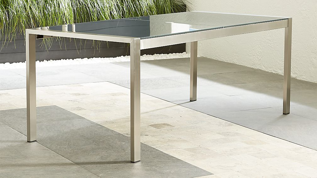 rectangular glass dining table Dune Charcoal Painted Glass Dining Table + Reviews | Crate and Barrel rectangular glass dining table