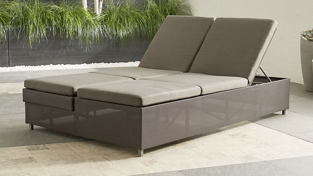 Dune Taupe Double Chaise Sofa Lounge with Sunbrella ® Cushions - Image 1 of 12