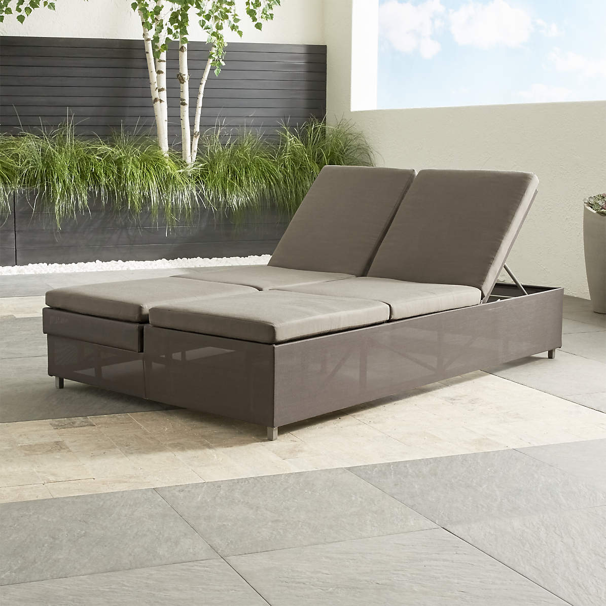 Dune Taupe Double Chaise Sofa Lounge With Sunbrella Cushions Reviews Crate And Barrel Canada