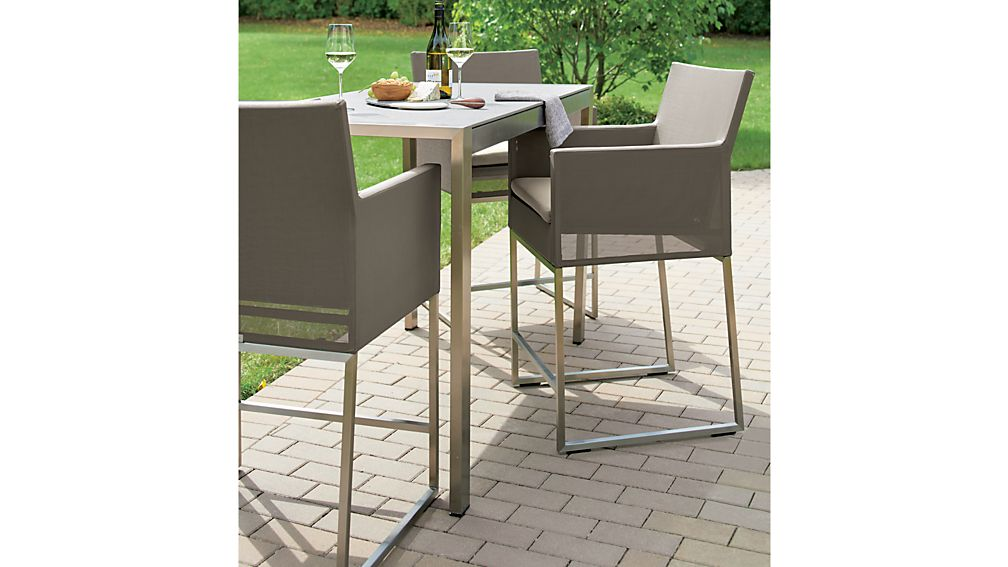 Dune High Dining Table with Pebbled Glass