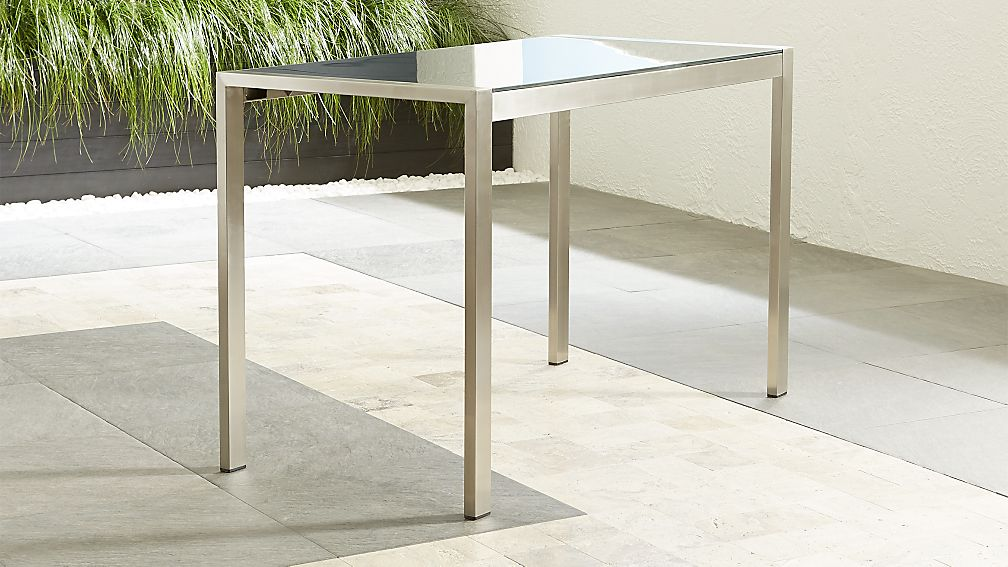 tall charcoal painted glass dining table + reviews | crate and barrel Charcoal Dining Table