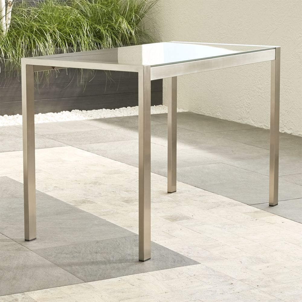 Dune High Dining Table with Taupe Painted Glass - Crate and Barrel