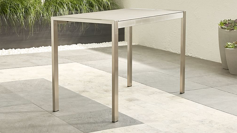 Dune high dining table with pebbled glass crate and barrel for Tall glass dining table