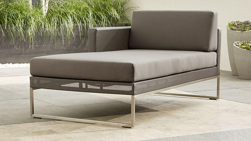 Dune Taupe Left Arm Chaise with Sunbrella ® Cushions - Image 1 of 4