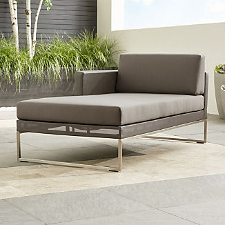 Dune Taupe Left Arm Chaise with Sunbrella ® Cushions
