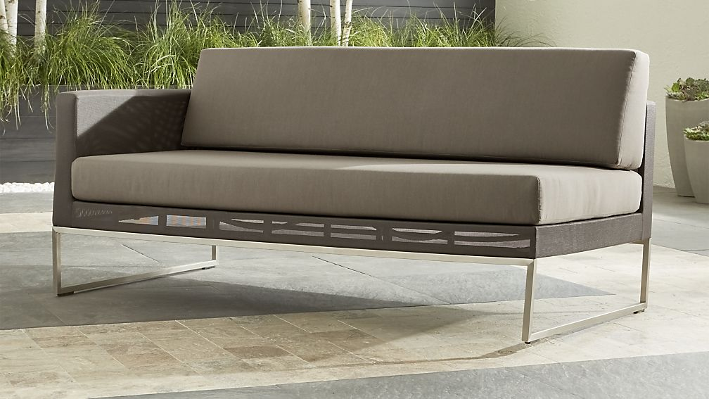 dune left arm loveseat with sunbrella cushions
