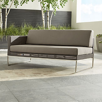 Dune Taupe Left Arm Loveseat with Sunbrella ® Cushions